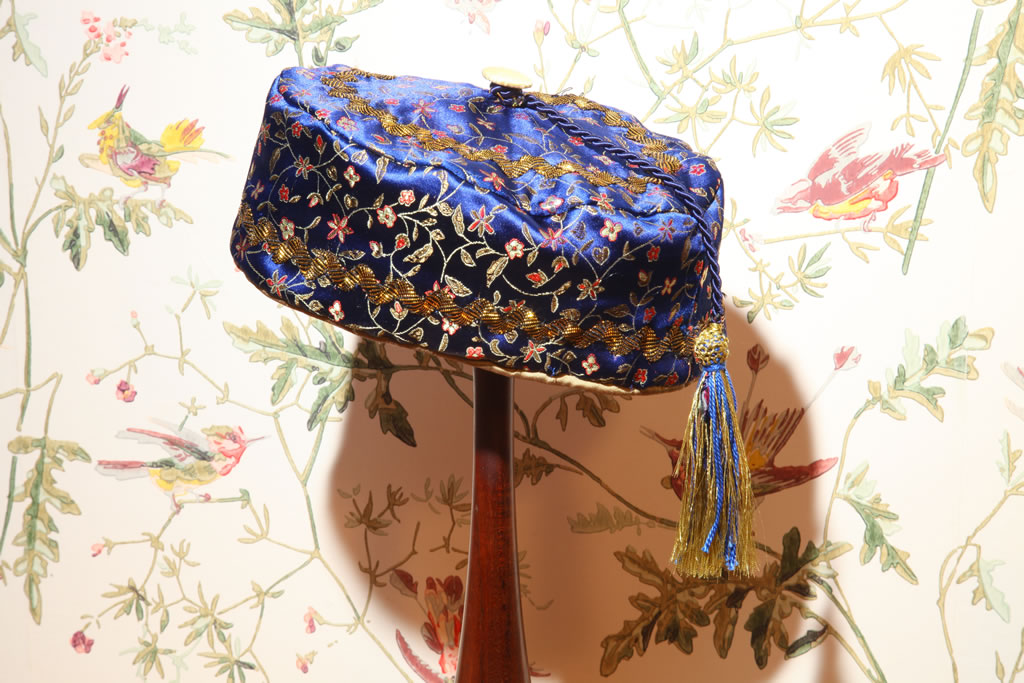 Emperor in blue floral brocade